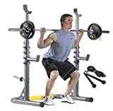 Adjustable Olympic Squat Rack, Bench Press, Preacher Curl with New Gen Jump Rope