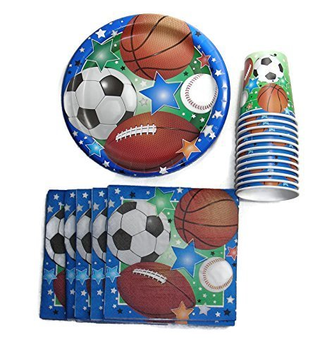 Party Supplies for Girls or Boys, Sports Themed (Includes Plates, Cups and Napkins for 36 kids)