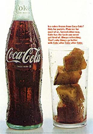 Amazon com: Ice cubes of frozen Coca-Cola ad 1966