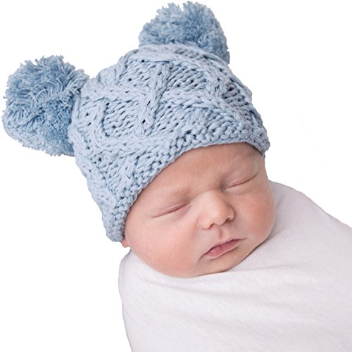 Huggalugs Blue Baby Cable Knit Pom Pom Newborn Boy Hospital (Baby Pom Pom Yarn)