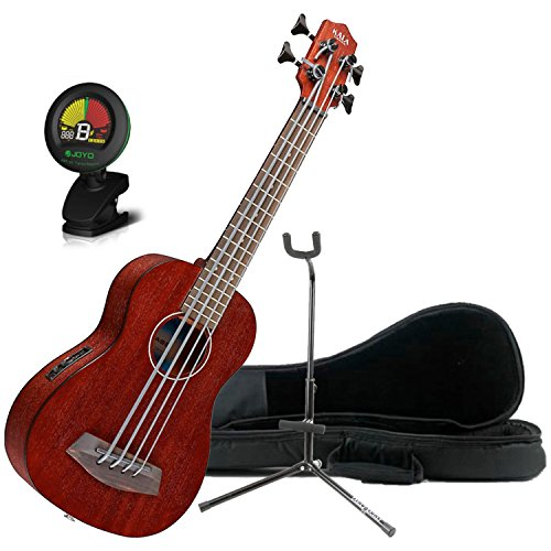 Kala Rumbler U-BASS Acoustic-Electric Fretted Satin Finish Agathis Body Ukulele w/Bag, Stand, and Tuner (Agathis Bass)