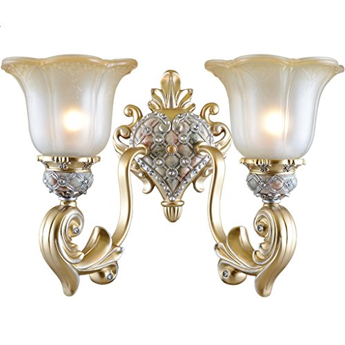(European Wall Lamp Retro Diamond-Mounted Glass Resin Hollow Carved Creative Simple European E27 Living Room Restaurant Study Bath Corridor Bedroom Single Head Double Head MUMUJIN)