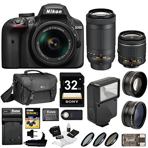 Nikon D3400 DSLR Camera with 18-55mm and 70-300mm Nikkor Lens + Nikon Bag + 32GB Card + Wide & Telephoto Lens + Flash + Filters + Remote and Kit (Black) by Focus Camera
