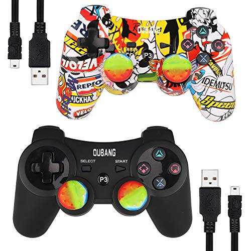 2 Pack PS3 Controller Wireless Dualshock 3 - OUBANG PS3 Remote for Playstation 3 with Sixaxis,The Best Choice for Gift (Graffiti+Black)