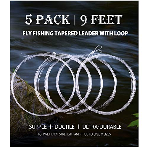 LotFancy 5 Pack Fly Fishing Tapered Leader with Loop - 9FT - 0X to 7X -