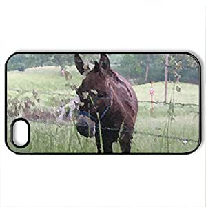 Grazing Donkey - Case Cover for iPhone 4 and 4s (Watercolor style, Black)