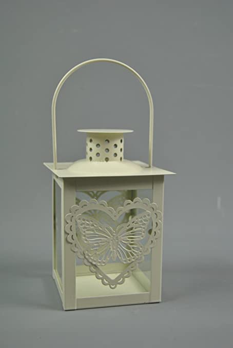 Candle Tealight Holder Butterfly Heart Lantern French Cream Metal /& Glass sides