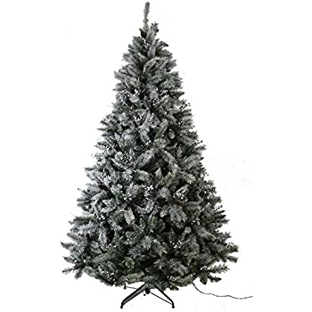 abusa prelit frosted artificial christmas tree 75 ft flocked snowy everest pine with red berries and