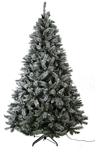 ABUSA Prelit Frosted Artificial Christmas Tree 7.5 ft Flocked Snowy Everest Pine with Red Berries and Pine Cones 750 LED Lights 1383 Branch Tips Pine Christmas Trees