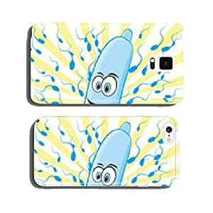 Background with condom and spermatozoon, vector cell phone cover case iPhone6