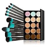 Tinksky 10 Makeup Brushes + 15 Colors Concealer Palette Highlighting Contour Face Cream Makeup Contouring Kit