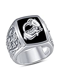 TVS-JEWELS Solid White Platinum Plated 925 Sterling Silver Capricorn Zodiac Sign Men's Ring With Black Enamel