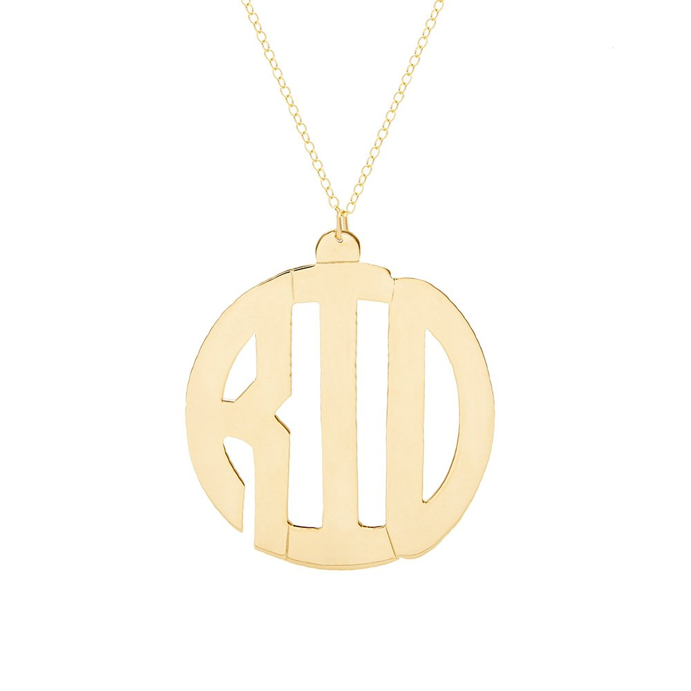 Eve's Addiction Gold Block Style Monogram Necklace by Eve's Addiction