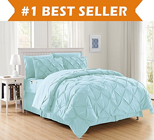 Luxury Best, Softest, Coziest 8-PIECE Bed-in-a-Bag Comforter Set on Amazon! Elegant Comfort - Silky Soft Complete Set Includes Bed Sheet Set with Double Sided Storage Pockets, Full/Queen, Aqua