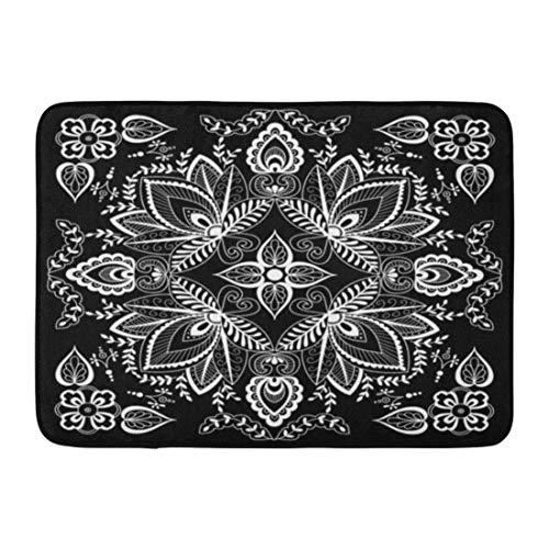 (Jugbasee Doormats Bath Rugs Outdoor/Indoor Door Mat Carpet Black and White Abstract Bandana Henna Pattern for Silk Neck Scarf Kerchief Hanky Hijab Bathroom Decor Rug 16