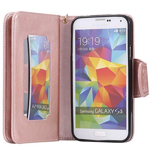 Ultra Slim Case para Galaxy S5/S5 NEO Funda Libro Suave PU Leather Cuero- Sunroyal ® Bookstyle Cobertura Wallet Case Con Flip Cover Cierre Magnético,Función de Soporte Billetera con Tapa para Tarjetas C-09