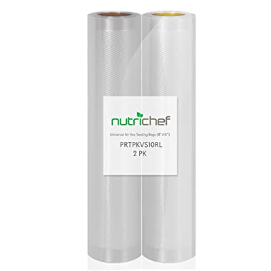 NutriChef Two 8 X10' 4 mil Commercial Grade Vacuum Sealer Food Storage Rolls | Create Your Own Size Bag! For NutriChef, Foodsaver, and Other Brands.