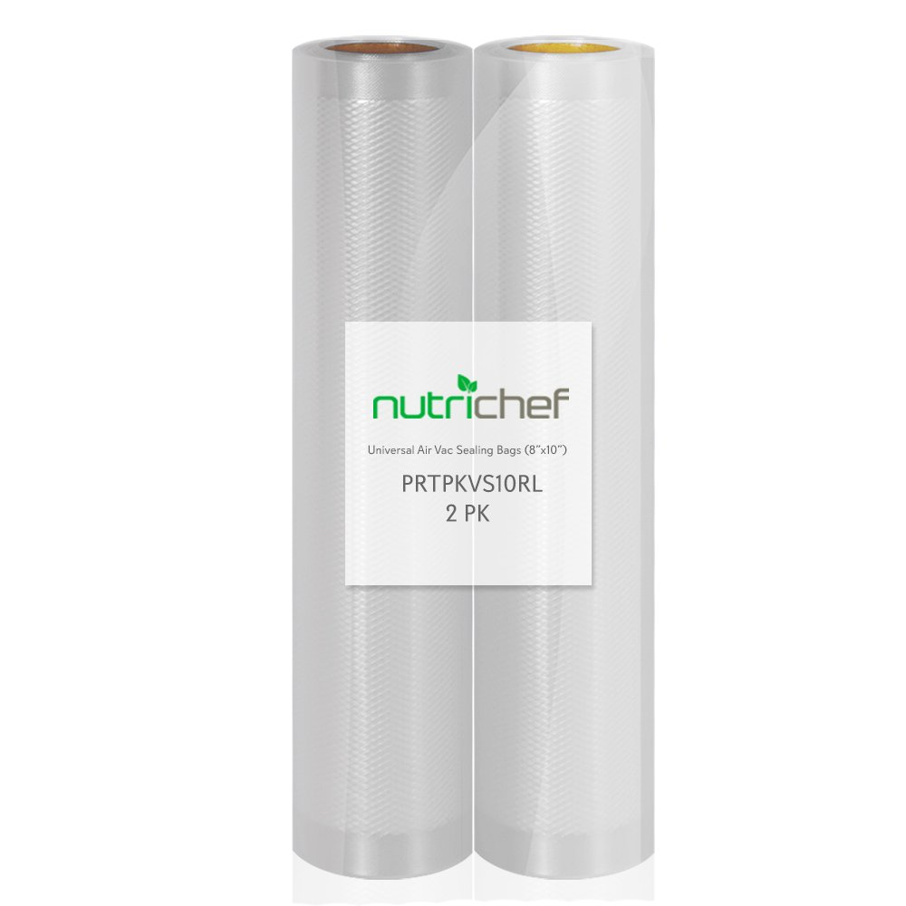 NutriChef Two 8''X10' 4 mil Commercial Grade Vacuum Sealer Food Storage Rolls   Create Your Own Size Bag! For NutriChef, Foodsaver, and Other Brands.