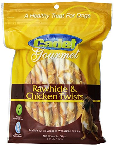 51FKLOuxa9L - Cadet Rawhide and Chicken or Duck Dog Chew Treats