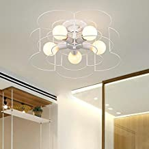 BAYCHEER HL444925 Industrial Vintage Style Metal Semi Flush Mount Ceiling Light Lamp Fixture with Nordic Flower Cage Shade for Indoor use 5 E26 Bulbs in White