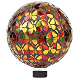 Lily's Home Colorful Mosaic Glass Gazing Ball, Designed with a Stunning Holographic Butterflies Mosaic Pattern to Bring Color to Any Home and Garden, (10 Inches Dia.)