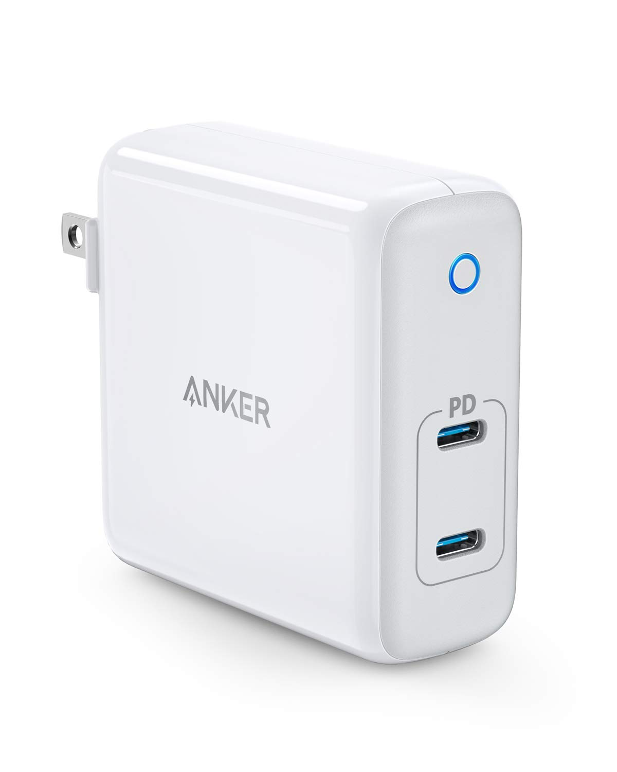 Anker 60W 2-Port USB C Charger, PowerPort Atom PD 2 [GaN Tech] Ultra Compact Foldable Type C Wall Charger, Power Delivery for MacBook Pro/Air, iPad Pro, iPhone XR/XS/Max/X/8, Pixel, Galaxy, and More