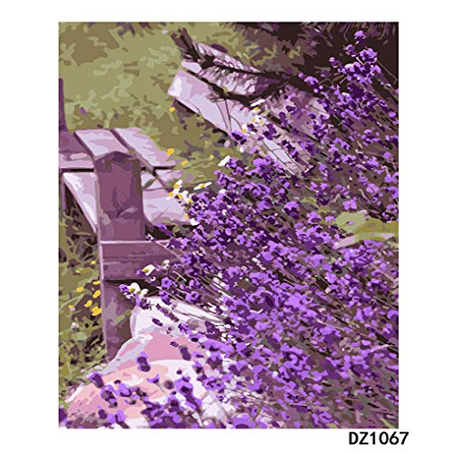 LovetheFamily 数字油絵 数字キット塗り絵 手塗り DIY絵 デジタル油絵 ホーム オフィス装飾 40x50cm 椅子の隣の紫色の花の商品画像