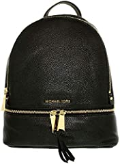 A luxe MICHAEL Michael Kors backpack in pebbled leather. The wraparound top zip opens to a logo-lined interior with 3 pouch pockets and 1 zip pocket. 2 exterior zip pockets. Locker loop and adjustable shoulder straps. Dust bag included.