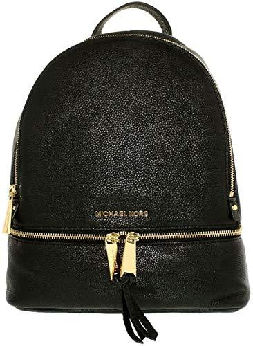 MICHAEL Michael Kors Rhea Zip Medium Leather Backpack, Black (Purse Black Michael Kors)