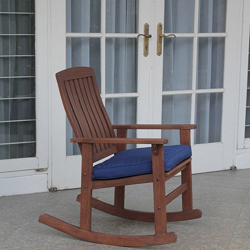 Delahey Wood Porch Rocking Chair, Light Brown For Sale