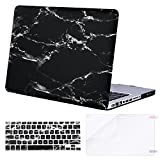 MOSISO Plastic Pattern Hard Case & Keyboard Cover & Screen Protector Only Compatible Old MacBook Pro 13 inch(A1278 CD-ROM) Release Early 2012/2011/2010/2009/2008, Black Marble