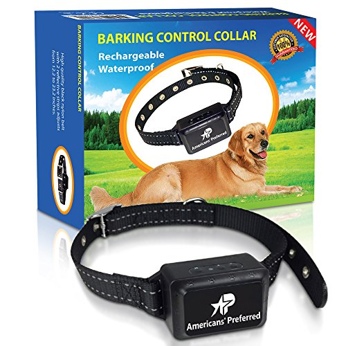 (Americans' Preferred Rechargeable and Waterproof Dog Bark Control Collar - Best for Naturally Stopping Excessive Barking - Durable Nylon Belt and Advanced Voice Recognition)