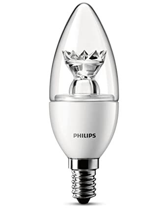 Philips 8718291743415 Bombilla LED vela transparente E14, 3 W, Blanco