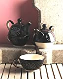 VarEesha Black Spiral Ceramic Cup with Kettle Set of Two/ Tea/ Coffee Cups