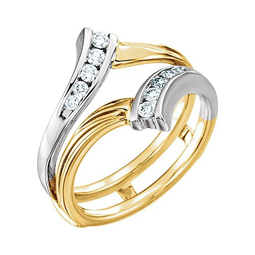 (FB Jewels 14K Yellow and White Two Tone Gold 1/4 CTW Diamond Ring Guard Size 6)