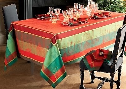 Garnier-Thiebaut, Noel Illustre (Illustrious Christmas) Woven French Tablecloth, 69 Inches x 100 Inches, 100% Cotton, Green Sweet Treated
