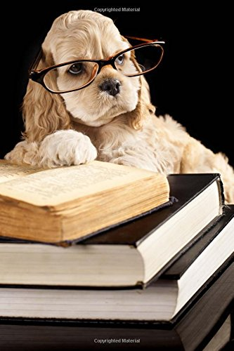 - American Cocker Spaniel Puppy Dog Trying to Study Journal: 150 page lined notebook/diary