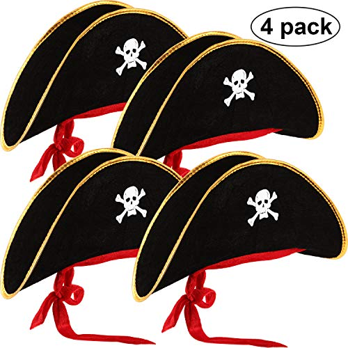 4 Pieces Pirate Hat Classic Skull Print Pirate Captain Costume Cap for Halloween Masquerade Party Cosplay Hat Prop