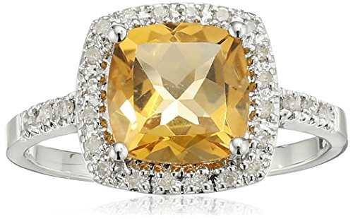 Sterling Silver Citrine and Diamond Cushion Halo Ring (0.14 cttw, I-J Color, I2-I3 Clarity), Size 6 (Cushion Fashion Citrine Ring Cut)