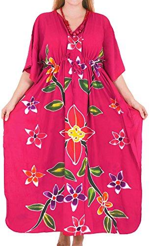 LA LEELA Women's Beachwear Swimwear Rayon Cover up Aloha Nightwear Caftans Multi D_Pink Wear Caftan