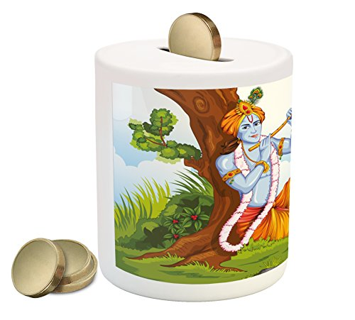 Tree Flute (Ethnic Piggy Bank by Ambesonne, Ethnic Mythology Playing Flute in Forest Tree Jungle Legendary Colorful Happy Print, Printed Ceramic Coin Bank Money Box for Cash Saving, Multicolor)