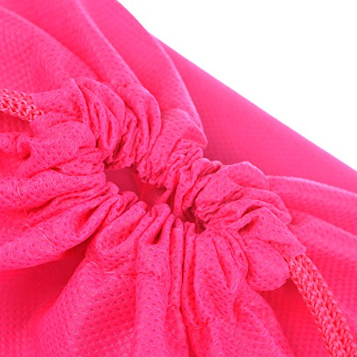 Cosmos ® 10 Pcs Women's Hot Pink Non-Woven Drawstring Shoe Bags for Travel Carrying, 13-3/4 x 11 Inches by Cosmos (Image #2)