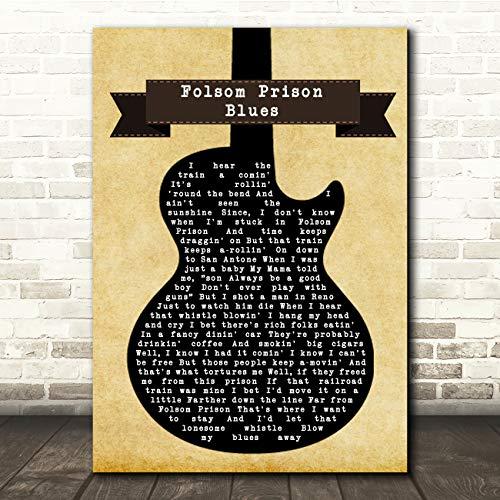 Folsom Prison Blues Black Guitar Song Lyric Music Quote Print (Christmas Folsom Zoo)