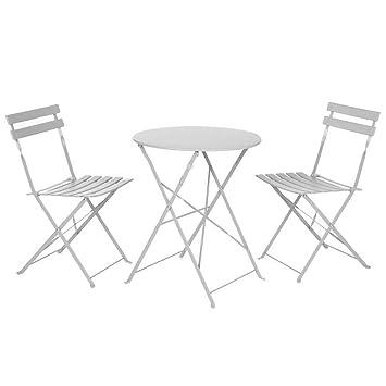 Conjunto de Mesa y sillas para terraza Gris de Acero Garden ...