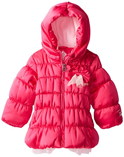 ZeroXposur Little Girls' Toddler Daisy Puffy Jacket, Hyper Pink, 3T