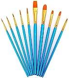 ペイント ブラシ AOOK アクリル筆 油絵筆 水彩筆 画筆 10本ブルー (10本ブルー)