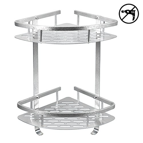 TIANG Bathroom Shelf, Aluminum Shower Corner Wall Mounted Shelf Basket, 12 Inch Triangle Space Saver Shelf Holder with 2 Hooks for Bathroom, Toilet, Hotel, kitchen — 2 ()