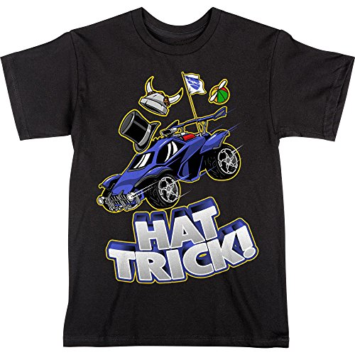 Hat Soccer Trick - JINX Rocket League Big Boys' Hat Trick Premium Cotton T-Shirt (Black, Small)