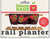"BloemBagz 3 Pocket Rail Planter, 24"", Peppercorn"