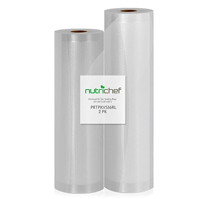 "(2) Rolls Vacuum Sealer Bags - (1) 8"" x 50' and (1) 11"" x 50' - For NutriChef PKVS10BK, PKVS10WT, PKVS18SL, PKVS18BK, PKVS20STS, PKVS30STS, and Other Vacuum Air Sealing Systems - NutriChef PRTPKVS16RL"
